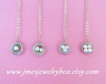 Little wire wrapped freshwater pearl bird nest necklace - Choose number of eggs