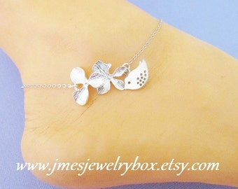 Silver orchid flower anklet with little bird (Adjustable)