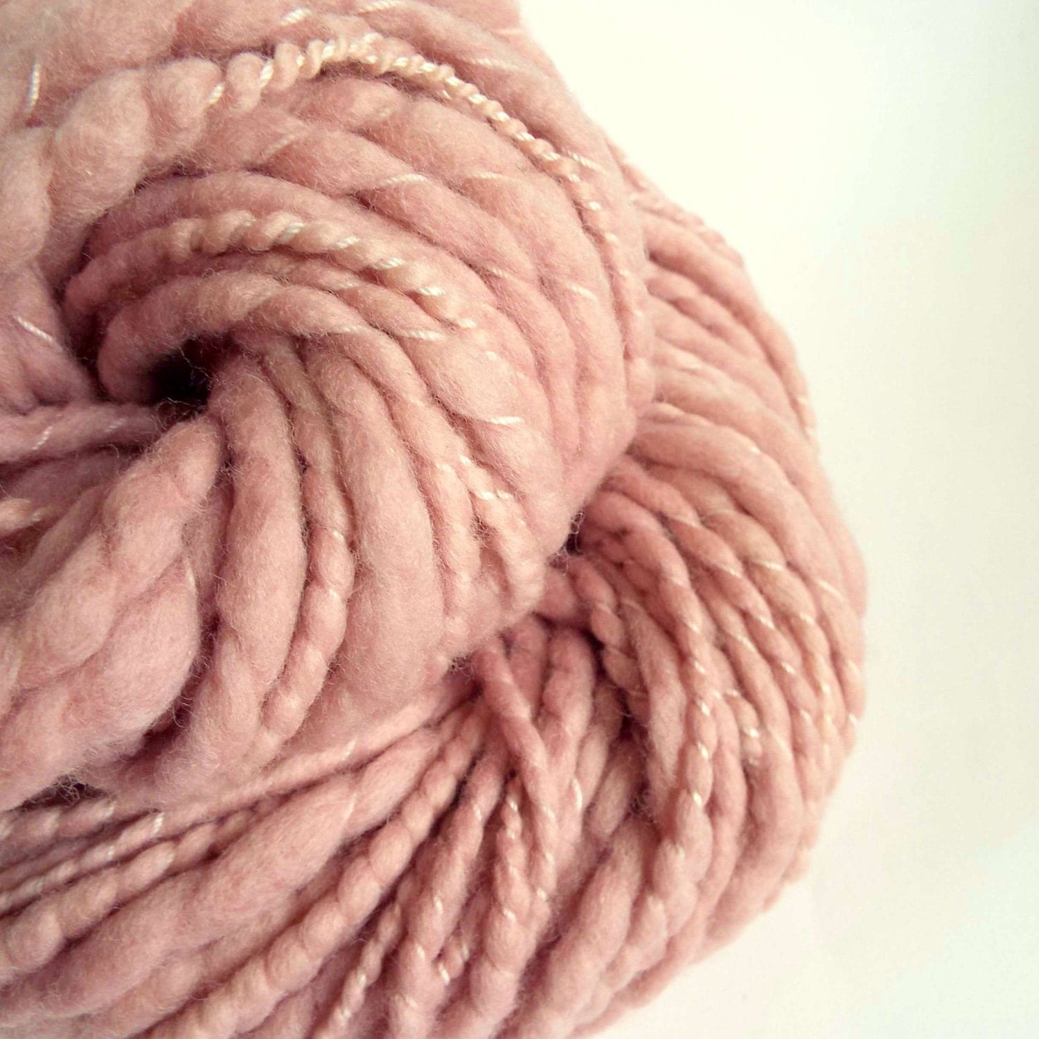 Pastel pink thick and thin wool chunky knitting by thefibretree