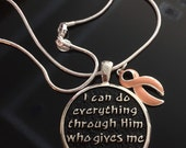 I Can Do Everything - endometrial and uterine cancer survivor awareness necklace - beautiful gift