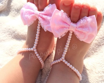 Baby barefoot sandals,baby girl gift,baby sandals,girl baptism shoes,girl christening gift,baby shower gift,photo prop,pink baby shoes