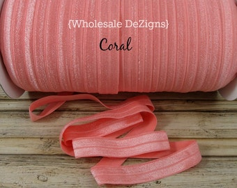"Coral FOE - Fold Over Elastic - 5/8"" - Foe Headbands - Hair Ties - Shiny Satin Elastic"