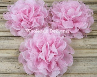 """Light Pink Chiffon and Lace Flowers - 3.75"""" Shabby Flower"""