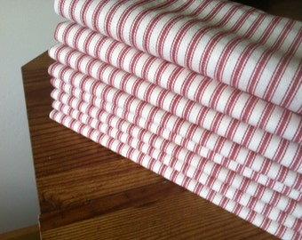 Red Ticking Cloth Napkins, 12 inch, by CHOW with ME