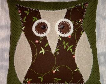 "Primitive/Shabby Applique Owl Pillow~10-1/2"" Square~Olive & Brown~NEW DESIGN"