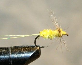 Fly Fishing Flies - Michigan Fisherman - Yellow - Made in Michigan Fishing Fly - Grizzly Hackle - Yellow deer hair tail - Number 10 Hook