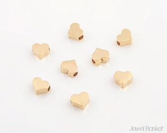 Metallic Heart Bead - Matte Gold Small Heart / 4.5mm x 5mm / PMG002-B2 (8pcs)