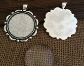 5set 30mm antique silver Round pendant Trays With Glass Cabochons