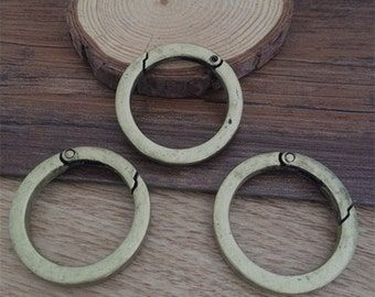 5pcs  37x5mm Bronze Round  Key Ring