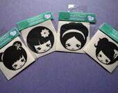 Classic cute japanese kokeshi doll girl stylized vinyl decal sticker