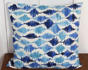Cushion cover 40 x 40 blue geometric motifs