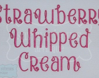Strawberry Whipped Cream Embroidery Font