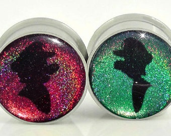 Mario & Lawege Silhouette Holographic Image Plugs - 1/2, 9/16, 5/8,11/16,3/4,7/8,24mm,26mm