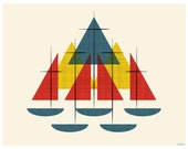 Mid Century Sailboats - Nautical Colors