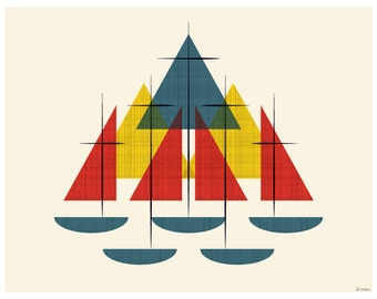 Mid Century Sailboats - Nautical Colors