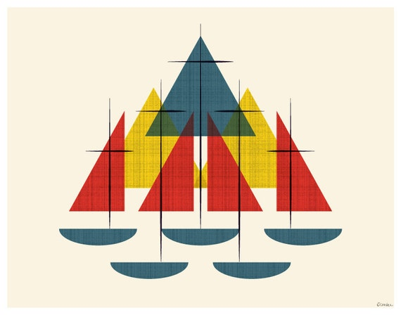 mid century sailboats nautical colors