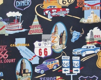 """100% Cotton Fabric By Alexander Henry - Route 66 Black  - Sold By The Yard  - 45"""" Width (FH-237)"""