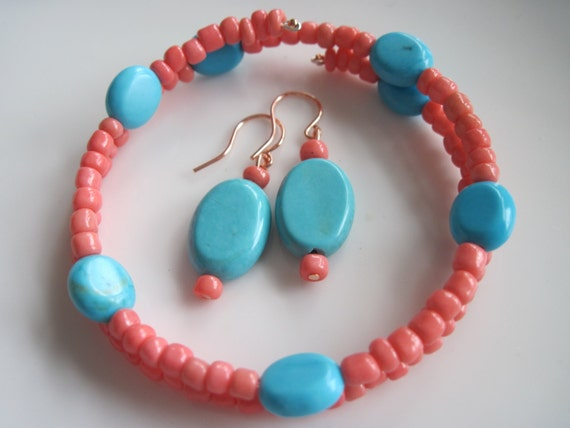 turquoise gemstones and coral colored glass bracelet