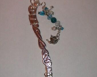 Beaded Bookmark, Metal Beaded Bookmark, Metal Bookmark, Teapot Bookmark, Bookmark, Handmade Bookmark