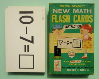 Vintage 1960's Milton Bradley Subtraction School Flash Cards For Teaching Children Math Great for Scrapbook and Mixed Media Craft Projects
