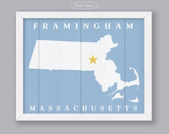 Massachusetts - Custom Town Location - Early American Series - Rustic Home Decor  Handmade Personalized Sign - Housewarming Family gift