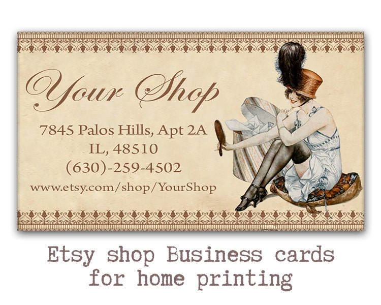Vintage Sewing business cards Etsy shop cards Printable