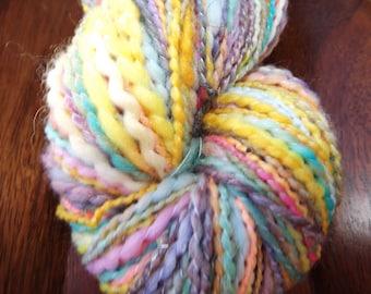 Handspun-Yarn Art-Jelly Beans-Pink, Blue, Yellow, Orange, Purple-Alpaca/Merino/Silk/Other-2-Ply-268 Yards-4.35oz