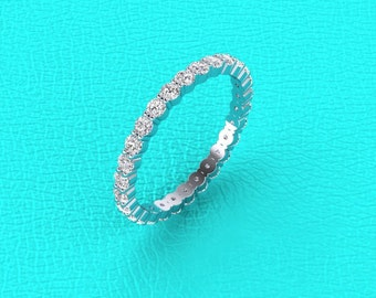 14K white gold 1.00 carat shared prong eternity band