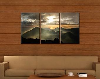 Framed Huge 3-Panel Sun Rays Cloudy Mountain Peak Sunrise Canvas Art Print - Ready to Hang