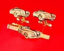 Anson Jaguar Cufflinks Vintage Car Men's Automobile Novelty Cuff Accessory gift for him estate cuff links estate jewelry sportscar tie clip