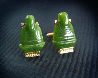 Vintage Buddha Cufflinks  Oriental Asian Good Luck Cool Gift for men gold designer jewelry Buddhist Deity