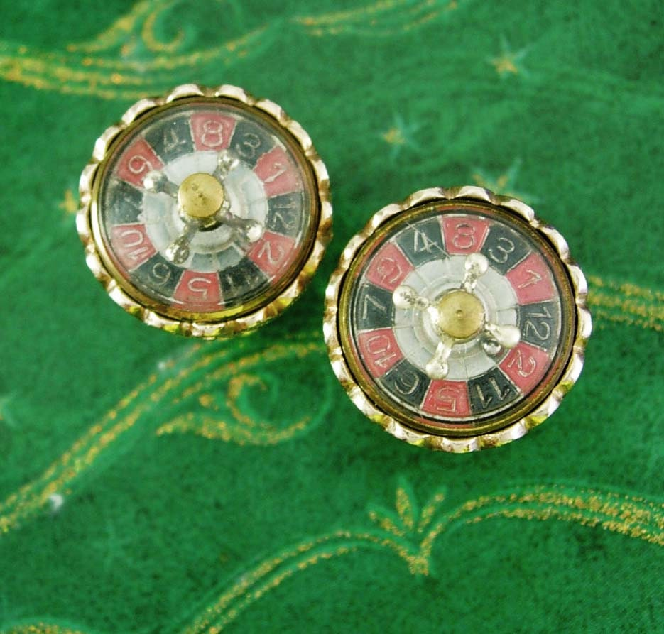 roulette wheel cuff links that spins casino cufflinks vintage. Black Bedroom Furniture Sets. Home Design Ideas