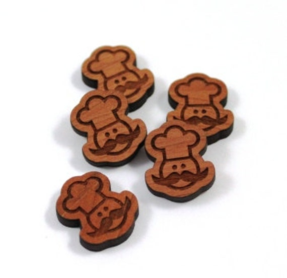 Laser Cut Supplies-8 Pieces.Chef Charms. Cherrywood- Mixed Laser Cut Wood Chef -Earring Supplies- Little Laser Lab Sustainable Wood Products