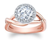 Women's 18k rose gold (Platinum top) micro pave halo engagement ring w/ 1.50ct Round Brilliant White Sapphire Center 0.10 ctw G-VS diamonds