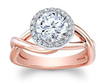 Women's 18k rose gold (Platinum top) micro pave halo engagement ring w/ 1.50ct Round Brilliant White Sapphire Center 0.10 ctw G-VS diamonds