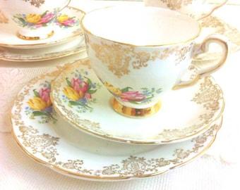 Vintage Tulip and Gold Filigree Tea Trio