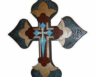 "Wooden Cross Layered Wooden Decorative Wall Crosses 15"" Inch Tall"