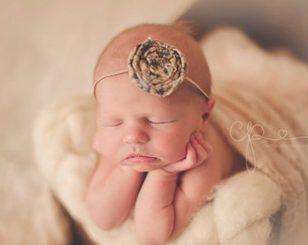 CONVO Me ABOUT SALE: Vintage Navy and Tan Fabric Rolled Rose Headband, Newborn Headband, Infant Photo Prop, Toddler Headband, Many Fabrics