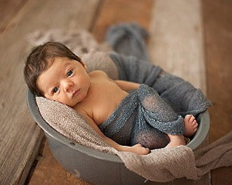 Newborn Photo Prop Set: Charcoal Knit Wrap w/Free Headband for Newborn Photo Shoot, Maternity Wrap, Newborn Wrap, Newborn Prop, Infant Photo
