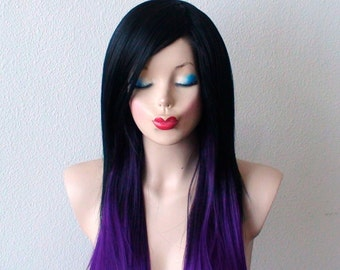 Black / Purple Ombre wig. Long straight  layered hair with bangs wig.  Heat resistant Synthetic wig