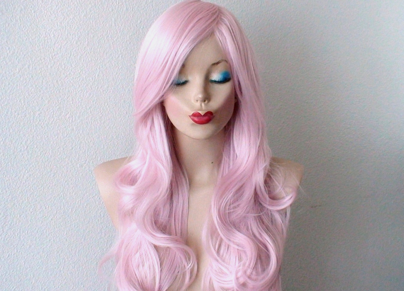 Long Light Pink Wig With Bangs 58