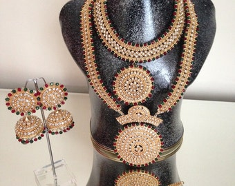 Pakistani Jewellery Handmade Delicate Gold Alloy and Rhinestones Bridal Set Red Green Clear Stones Beads