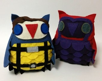 X-Men First Class Magneto and Professor X Inspired Plush Owls