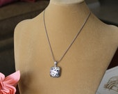 Puffy Square Cut Out Sterling Silver Necklace