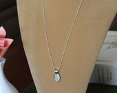 Engraveable Sterling Silver Pendant on a Long Sterling Silver Chain