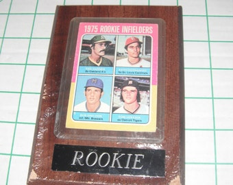 1975 Rookie outfielders baseball card, mounted