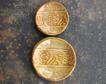 Tiny Rustic Butterfly Ring / Earring Dishes in Maize Yellow Over Terracotta, Set of Two, Stamped Pottery, hiddenfirepottery