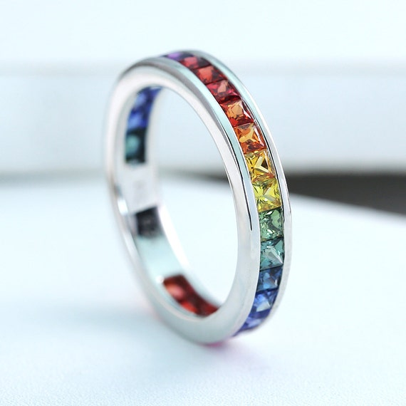 LGBT Pride Eternity Ring Wedding Band 14K White Gold Unisex Unique