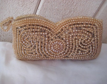 50s pearl clutch, decorative evening clutch, sequined brides clutch, champagne beads, silvercraft