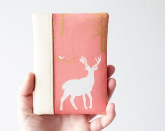 Passport Wallet, Travel Wallet, Travel Organizer, Passport Cover for 2 (Two) - Faux Leather - Metallic Gold - Deer - Coral